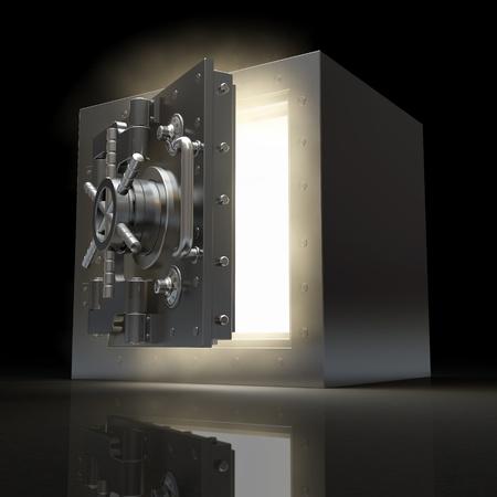door bolt: Apertura de la b�veda y el volumen de luz sobre fondo negro. 3d