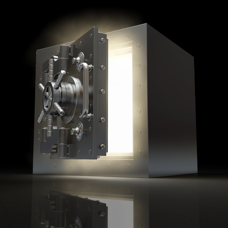 Opening vault and volume light on black background. 3d photo