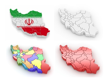 chinese map: Three-dimensional map of Iran on white isolated background. 3d