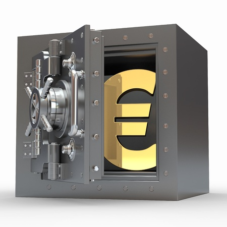 Euro sign in vault on white isolated background. 3d photo