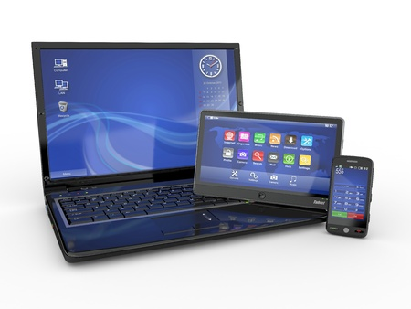 Electronics. Laptop, mobile phone and tablet pc. 3d photo