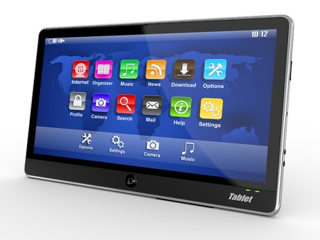 Black tablet pc on white background. 3d Stock Photo - 10753748