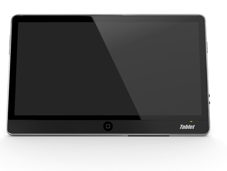 3d dimensional: Black tablet pc on white background. 3d