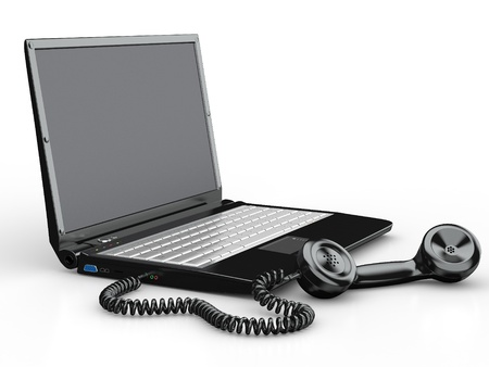 Laptop with old-fashioned phone reciever on white background. 3d photo