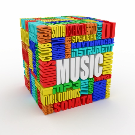 crossword puzzle: Music. The concept of the words on white isolated background. 3d