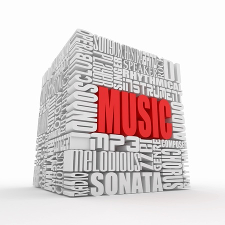 chorus: Music. The concept of the words on white isolated background. 3d