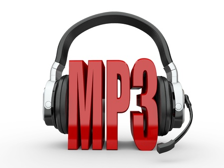 podcast: Text MP3 and handphones on white isolated background. 3d Stock Photo