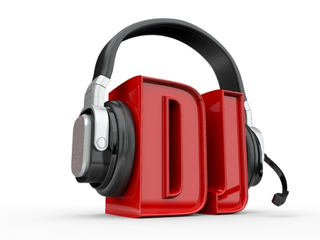 Text DJ and handphones on white isolated background. 3d Stock Photo - 10824972