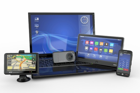 Electronics. Laptop, mobile phone, tablet pc and gps. 3d photo