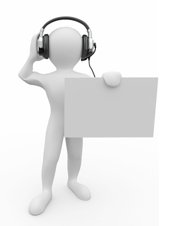 podcast: Men with headphones and empty board. 3d Stock Photo