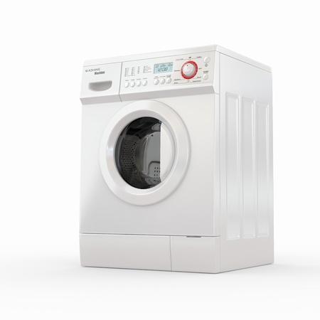 세탁기: 흰색 배경에 닫힌 된 세탁기. 3D 스톡 사진