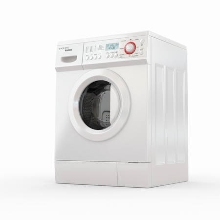 household objects equipment: Closed washing machine on white  background. 3d Stock Photo