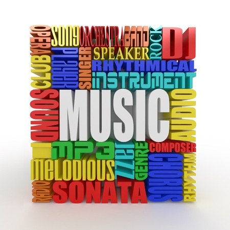 Music. The concept of the words on white isolated background. 3d photo