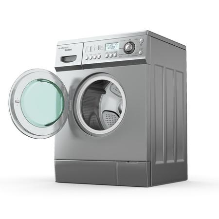 lavando ropa: Abrir lavadora en el fondo blanco. 3d Foto de archivo