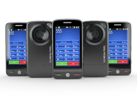 gsm phone: Row of black mobile phone with photo camera. 3d