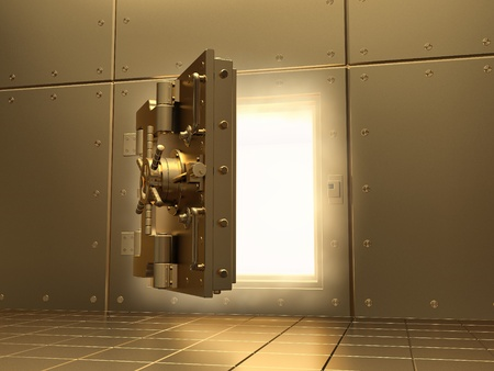 unlock: Opening vault and volume light. Three-dimensional image.