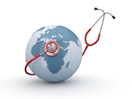 diagnostic medical tool: Earth and stethscope on white background. 3d