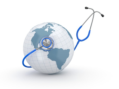 Earth and stethscope on white background. 3d Stock Photo - 10995559