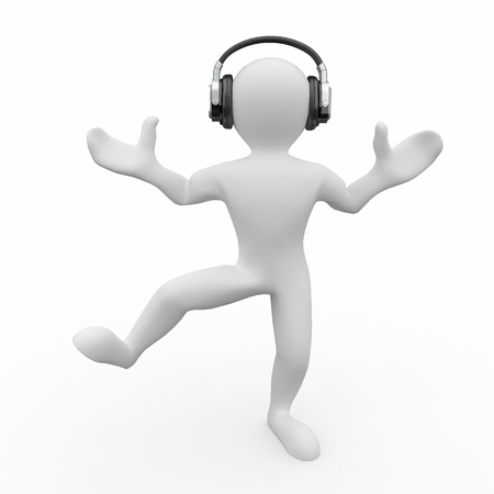 Dancing men in headphones on white isolated background. 3d Stock Photo - 10995555