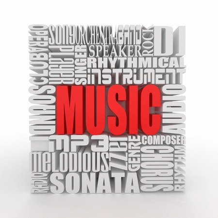 melodious: Music. The concept of the words on white isolated background. 3d