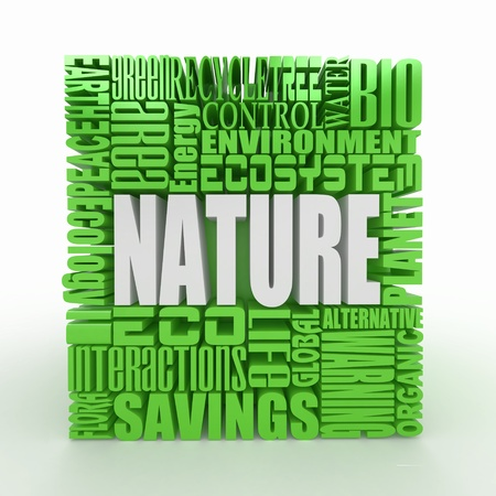 recycle area: Nature. The concept of the words on white isolated background. 3d
