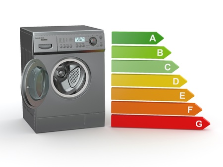 Washing machine with the scale of energy efficiency. 3d Stock Photo - 10995582