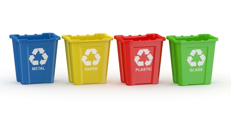 sort: Recycle bin with sign of recycling. Sort by material. 3d