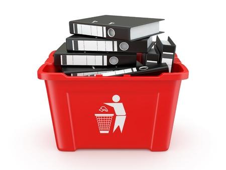 eliminate waste: Folders in recycle bin on white background. 3d