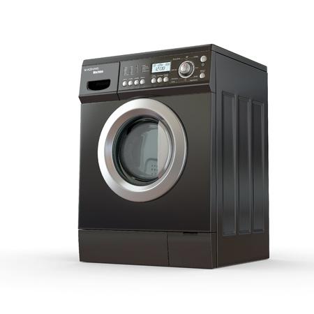 Closed washing machine on white  background. 3d photo