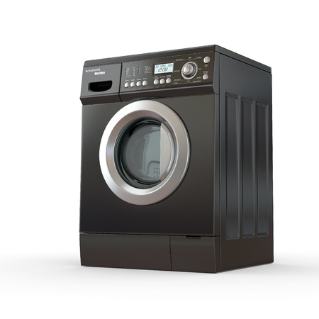 black appliances: Closed washing machine on white  background. 3d Stock Photo