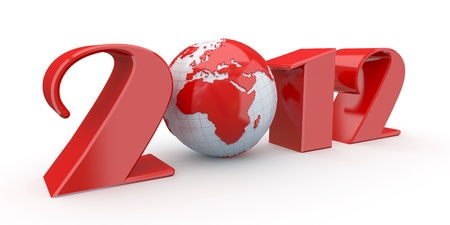 New Year. Text 2012 and earth. 3d photo