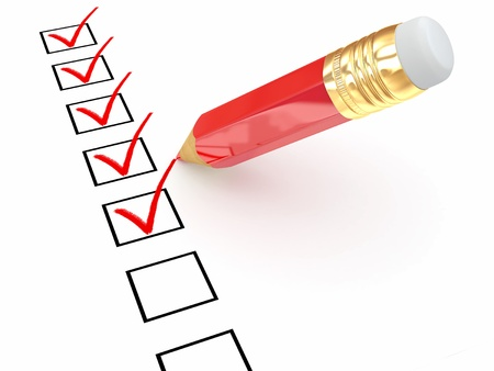 checkboxes: Pencil and questionnaire on white isolated background. 3d Stock Photo