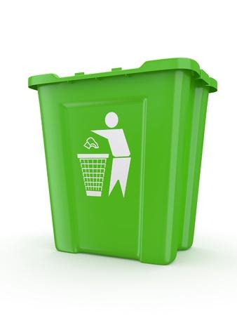 papelera de reciclaje: Vaciar papelera de reciclaje con signo. 3d Foto de archivo