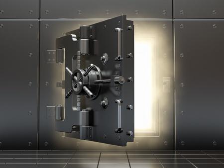 Het openen kluis en volume licht. Drie-dimensionaal beeld.