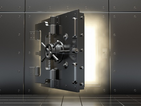 bank protection: Opening vault and volume light. Three-dimensional image.