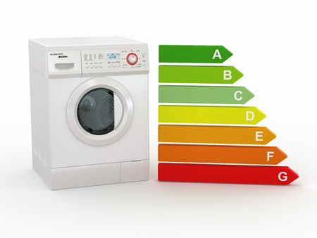 Washing machine with the scale of energy efficiency. 3d photo