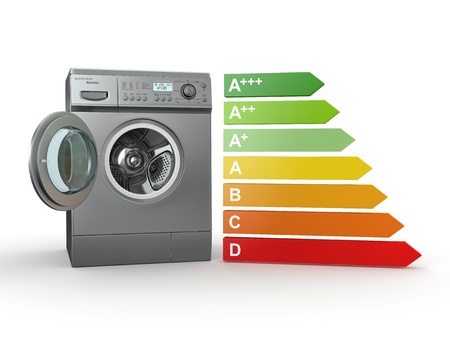 energy performance certificate: Washing machine with the scale of energy efficiency. 3d Stock Photo