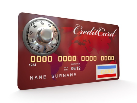 Credit card with steel security lock on white background. 3d photo