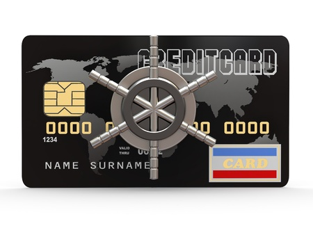 Credit card with steel security lock on white background. 3d Stock Photo - 11224001