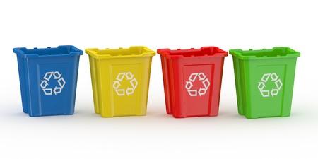 poubelle bleue: Corbeille avec le signe du recyclage. Trier par mati�re. 3d