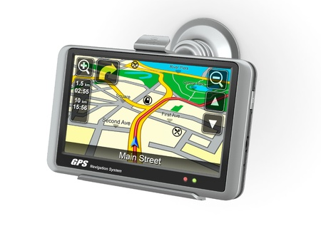 Navigation system. Gps on white isolated background. 3d photo