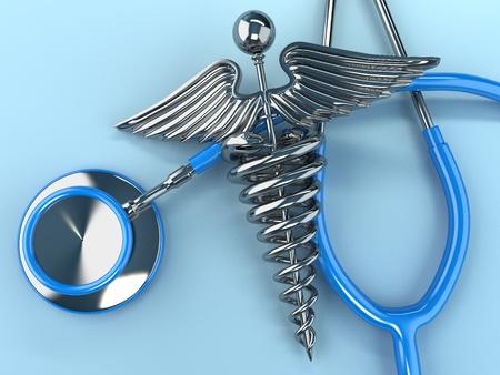 medicina: Estetoscopio con el s�mbolo de la medicina, caduceo. 3d