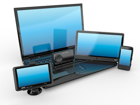 multimedia: Electronics. Laptop, mobile phone, tablet pc and gps. 3d