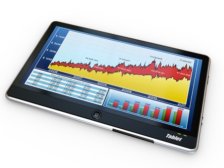 stock image: Tablet pc and business graph on the screen. 3d Stock Photo