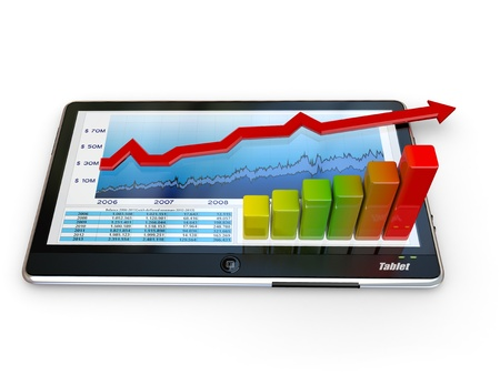 Tablet pc and business graph on the screen. 3d Stock Photo - 11224014