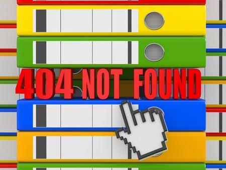 Error 404. File not found. Binders. 3d photo