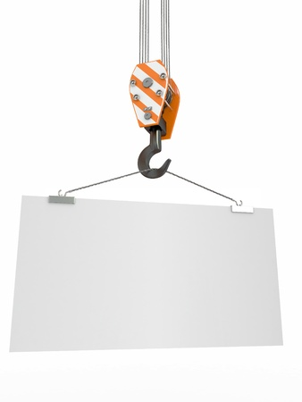 Crane hook with empty board on white isolated background. 3d photo
