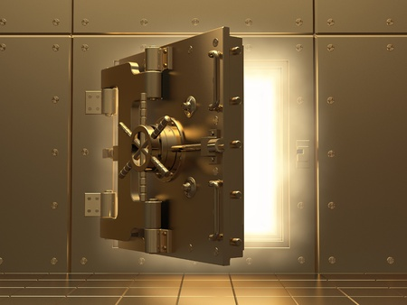 metal doors: Opening vault and volume light. Three-dimensional image.