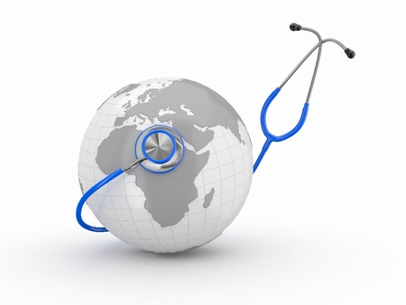 global health: Earth and stethoscope on white background. 3d Stock Photo