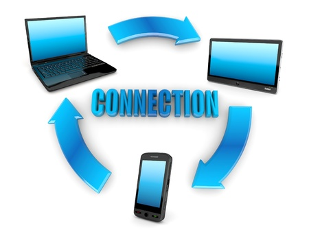 Communication. Laptop, tablet pc and cellphone. 3d Stock Photo - 11224021